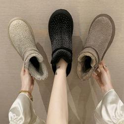 Ukawaii 個性的なデザイン カジュアル 韓流 オープントゥ プラットフォーム 暖かい 秋冬 ラインストーン ショート丈ブーツ