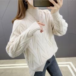 Ukawaii 上品なシルエット ファッション フェミニン 無地 ハイネック ニットセーター