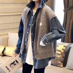 Ukawaii 絶対流行ファッション POLOネック 切り替え シングルブレスト レディースジャケット