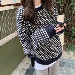 Ukawaii 新商品 シンプル プルオーバー 長袖 ポリエステル チェック柄 セーター