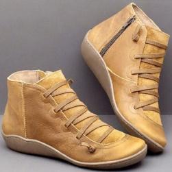 Ukawaii 海外トレンド 人気 多色 フラットヒール 丸トゥ ブーツ 痛くない 走れる 歩きやすい ブーツ
