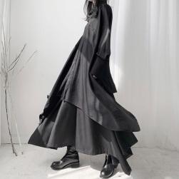 Ukawaii【二点セット】一枚で視線を奪う ストリート系 無地 ドルマン シングルブレスト シャツ +足首丈 不規則 スカート セットアップ