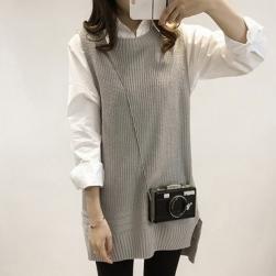 Ukawaii おすすめファッション折襟ニットトップス+切り替えスカート秋冬プニットセットアップ