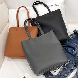 Ukawaii 韓国系シンプル無地大容量ファスナー肩掛けトートバッグ